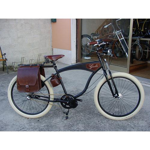 borse laterali bici cuoio